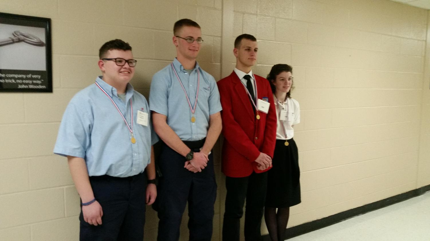 SkillsUSA winners from regionals (from left): Tanner Brisbane, Elisha Carter, Xavier Lowry, and Shelby Mckinney. Not Pictured: Tyler Williams.