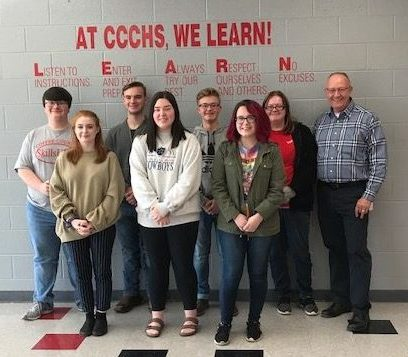 Students in the $500 Club-  (front row) Bree Williamson, Alexis Hershman, Sara Dove; (back row) George Gannon, Bryson Goines, Slade Barnes, Destinee Lain, and Terry Harnden (instructor).