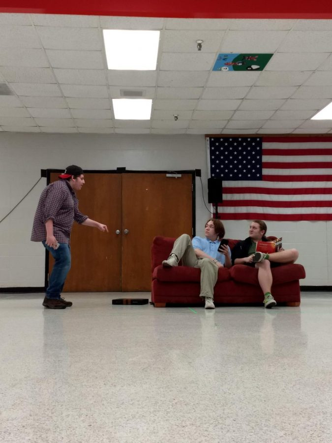 Jackson Hamm, Dyllen Robinson, and Drew Harner perform a ten minute play.