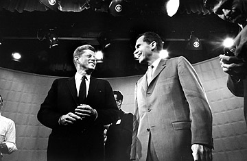 Democratic candidate John F. Kennedy and Republican candidate Richard Nixon chat lightheartedly prior to their first debate - a sight you'll likely not see in the 21st century.