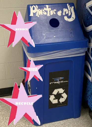 This is a recycling bin located next to the vending machines in the cafeteria.