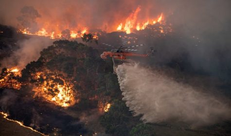This image features an aerial view of firefighters working on the bushfires by helicopter.