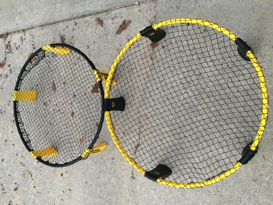 The standard net (left), and the pro net (right), are easily distinguishable due to the pro net's bigger size, inverted colors, and thicker material.