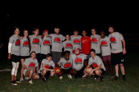 The senior kickball team ultimately won the softball team