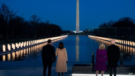 Vice-President Elect Kamala Harris (Center-left) and husband Doug Emhoff (Outer-left) with President-Elect Joe Biden (outer-right) and wife Jill Biden (center-right) at the reflection pond.