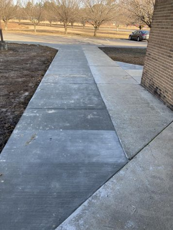 CCCHS installs a new sidewalk for car riders, walkers, and others.