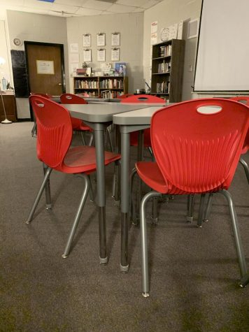 The English department was one part of the school that got new desks.
