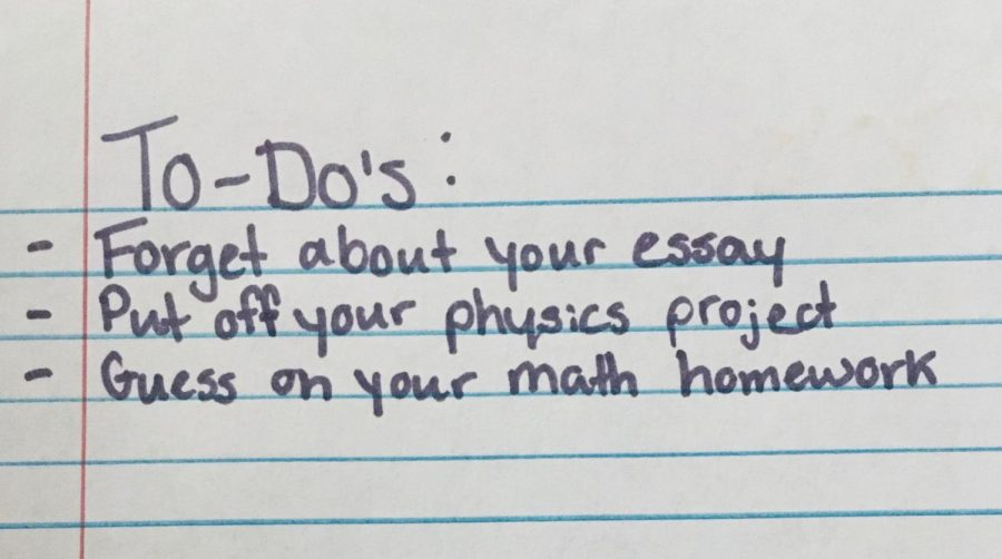 A high school student writes out her busy to-do list.