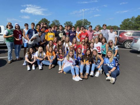 """The class of 2021 participated in the annual """"senior dress-up day"""" on the first day of school."""