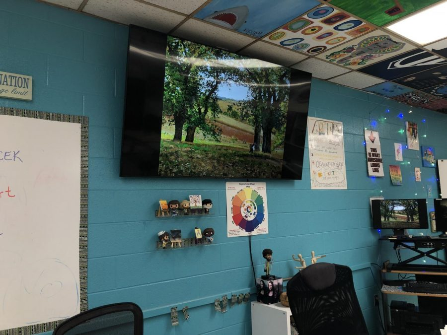 A new TV was hung in Mrs. Vacek's art room.