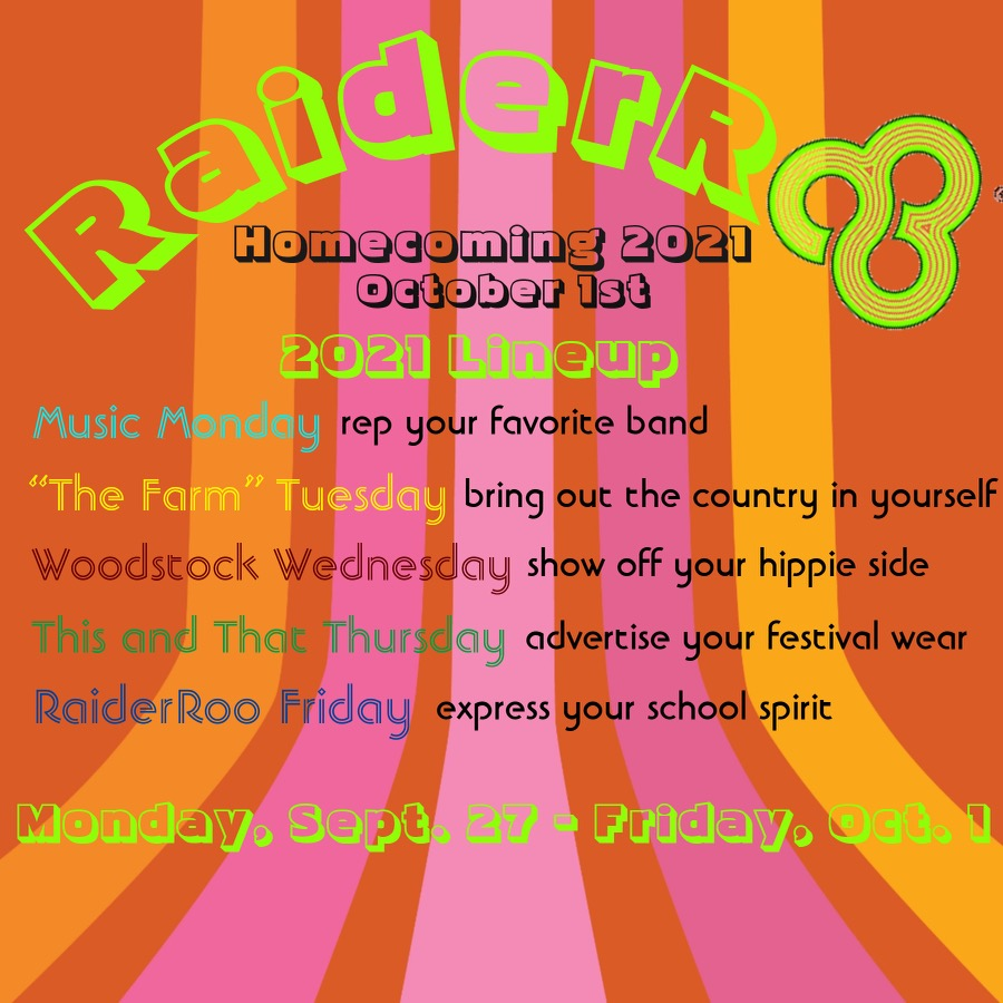 The Raideroo Homecoming Lineup was announced last week from Mrs. Carney in each students email.