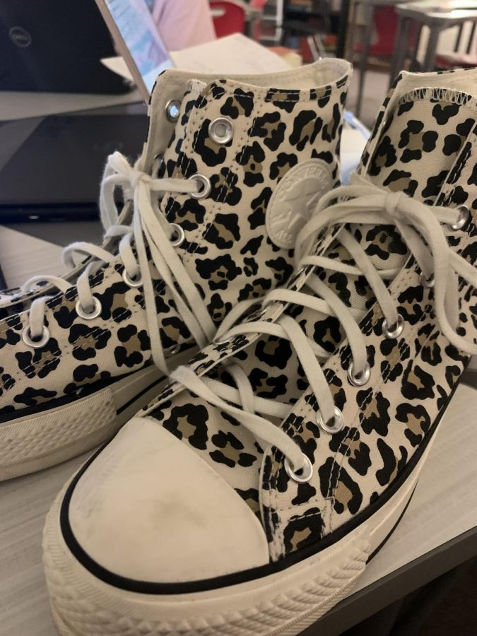 Platform cheetah print converse go with any solids.