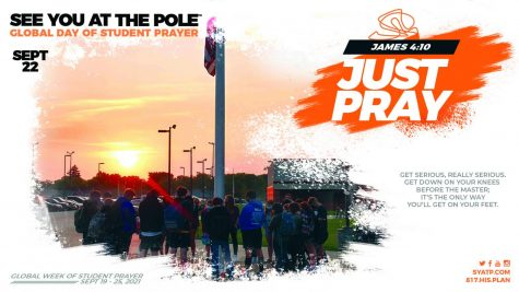 Students are gathering at the flag pole for a time of prayer