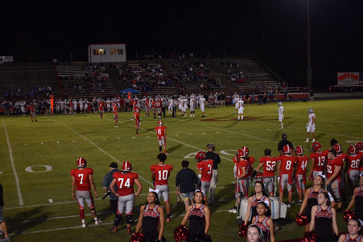 The Red Raider football team gets ready to kick off in their game against Page High School.
