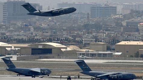 U.S Transport plane departs Kabul on August 30, 2021.