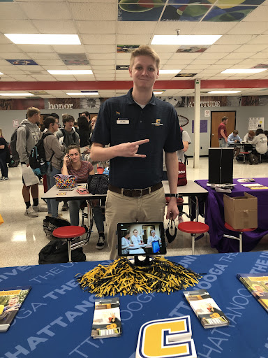 Sam Elder, a representative from the University of Chattanooga, visits CCCHS for the annual college fair.
